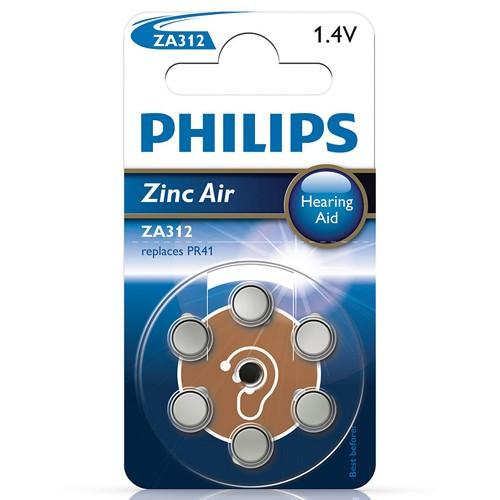 Philips ZA312 1,4V 6-p till hörapparat