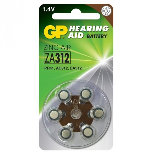 GP ZA 312 Hörapparatsbatteri 6-p