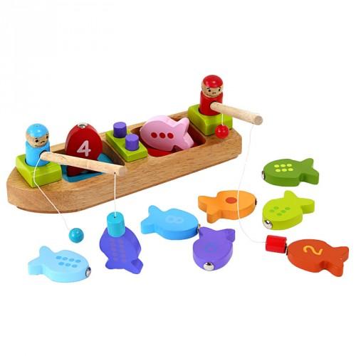 Barbo Toys Fiskebåt med magnet i trä