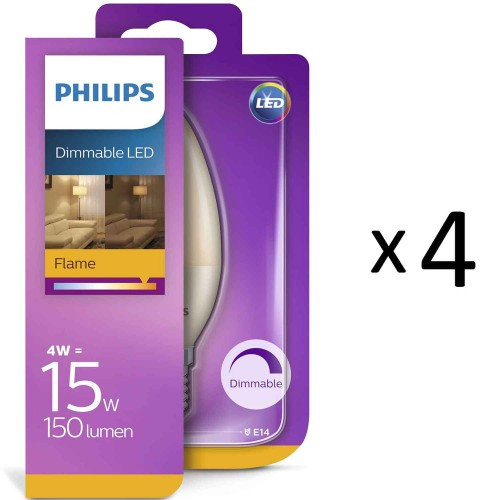 Philips LED Flame E14 Kron 15W Dim 4st