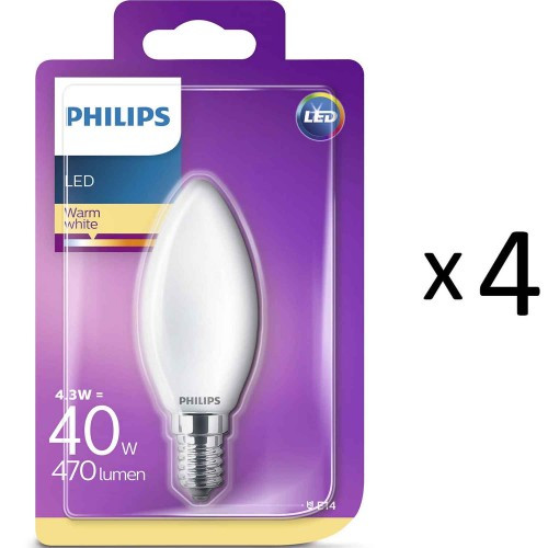 Philips LED E14 Kron 40W Frost 4st