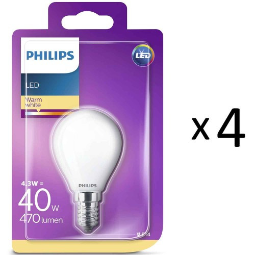 Philips LED E14 Klot 40W Frost 4st