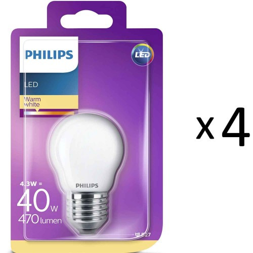Philips LED E27 P45 Klot 40W Frost 4st