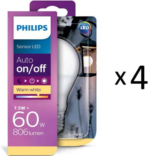 Philips LED Sensor E27 60W Frost 4st