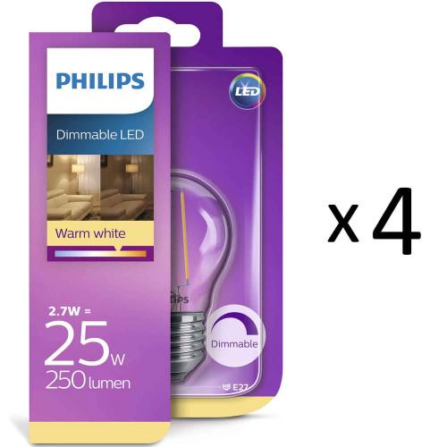 Philips LED Filam Klot E27 25W Dim 4st