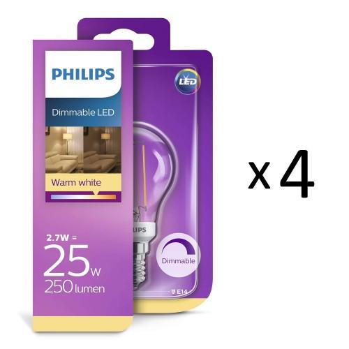 Philips LED Filam Klot E14 25W Dim 4st