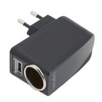 LogiLink 230V -> Cigguttag+USB-port 1A