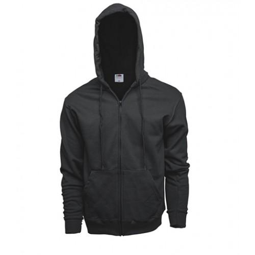 Fruit of the Loom Zip Hooded Sweat Jacket Black