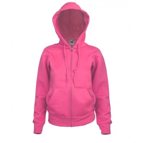 Fruit of the Loom Lady-Fit Hooded Sweat Jacket Fuschia