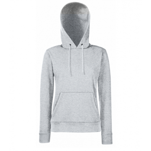 Fruit of the loom Lady-Fit Lightweight Hooded Sweat Heather Grey