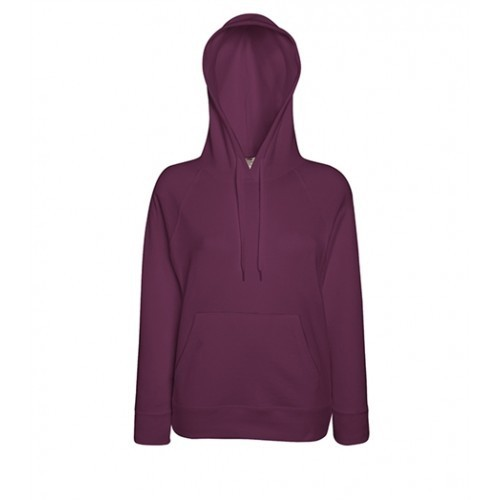 Fruit of the loom Lady-Fit Lightweight Hooded Sweat Burgundy