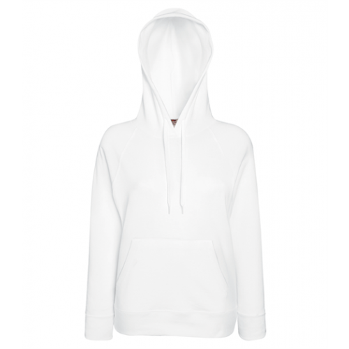 Fruit of the loom Lady-Fit Lightweight Hooded Sweat White