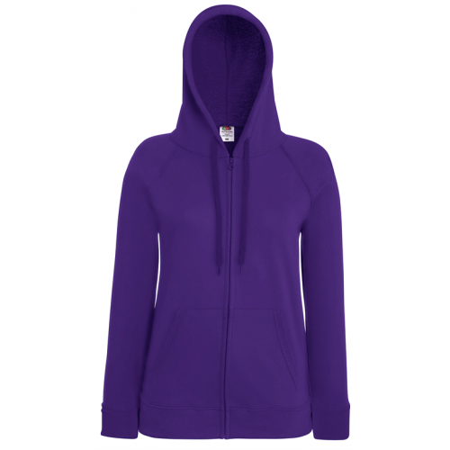 Fruit of the loom Lady-Fit Lightweight Hooded Sweat Jacket Purple