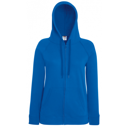 Fruit of the loom Lady-Fit Lightweight Hooded Sweat Jacket Royal Blue