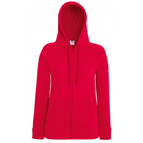 Fruit of the loom Lady-Fit Lightweight Hooded Sweat Jacket Red