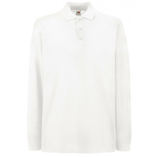 Fruit of the loom Long Sleeve Polo White