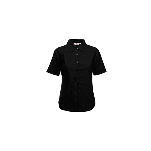 Fruit of the loom Lady-Fit Short Sleeve Oxford Shirt Black