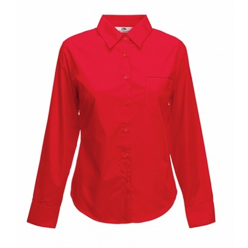 Fruit of the loom Lady-Fit Long Sleeve Poplin Shirt Red