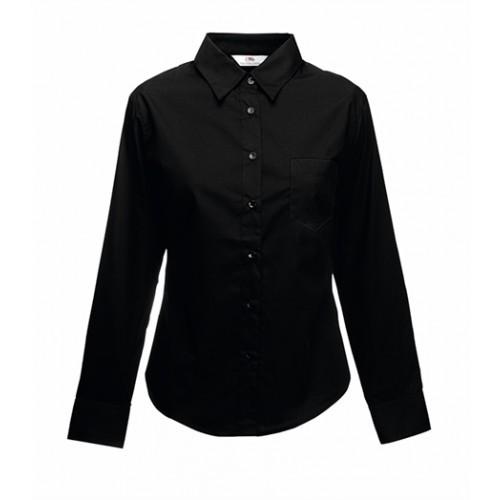 Fruit of the loom Lady-Fit Long Sleeve Poplin Shirt Black