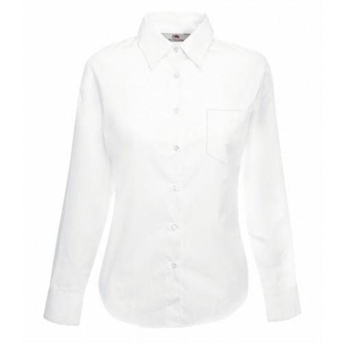 Fruit of the loom Lady-Fit Long Sleeve Poplin Shirt White
