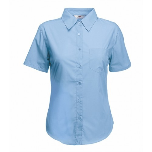 Fruit of the loom Lady-Fit Short Sleeve Poplin Shirt Mid Blue