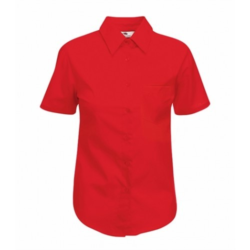 Fruit of the loom Lady-Fit Short Sleeve Poplin Shirt Red