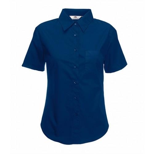 Fruit of the loom Lady-Fit Short Sleeve Poplin Shirt Navy