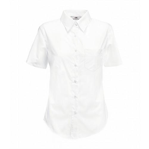 Fruit of the loom Lady-Fit Short Sleeve Poplin Shirt White