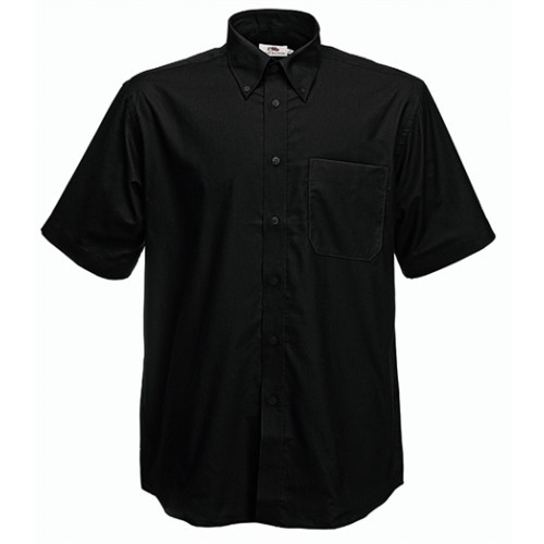 Fruit of the loom Short Sleeve Oxford Shirt Black