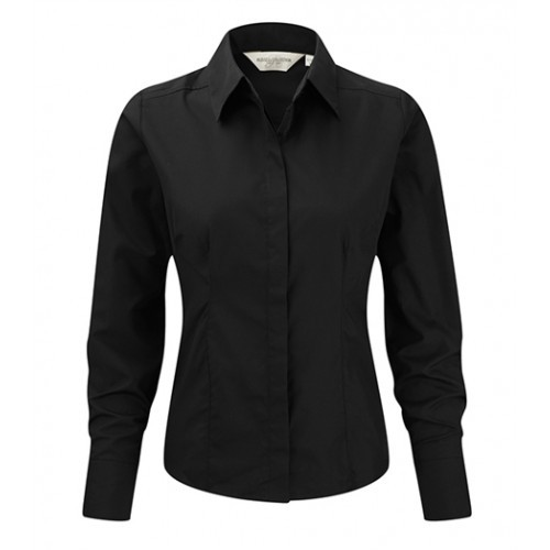 Russell Ladies LS Easy Care Fitted Poplin Shirt Black