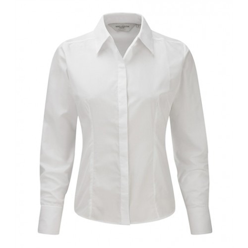 Russell Ladies LS Easy Care Fitted Poplin Shirt White