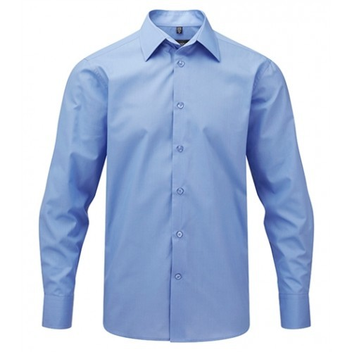 Russell Men´s LS Easy Care Tailored Poplin Shirt Corporate Blue