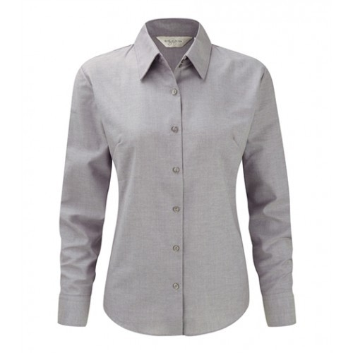 Russell Ladies LS Easy Care Oxford Silver