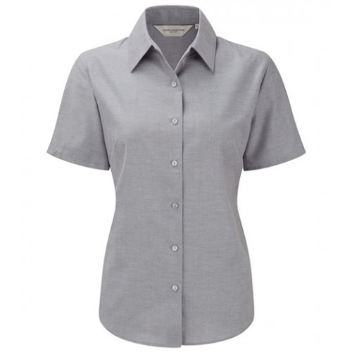 Russell Ladies Sh Sl Easy Care Oxford Silver