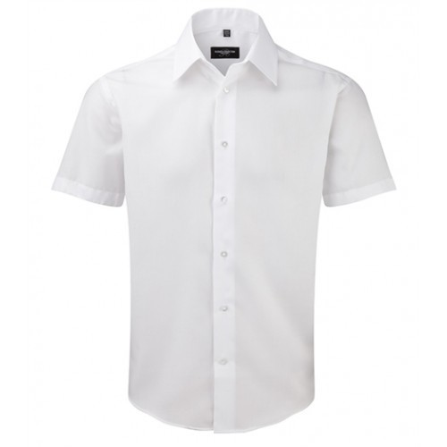 Russell Men´s Sh Sl Tailored Ultimate Non iron Shirt White