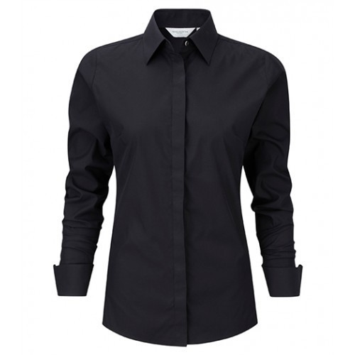 russell Ladies L/S Ultimate Stretch Shirt Black