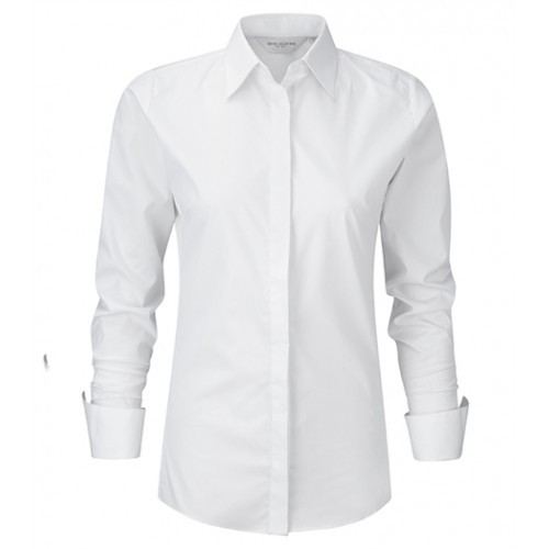russell Ladies L/S Ultimate Stretch Shirt White