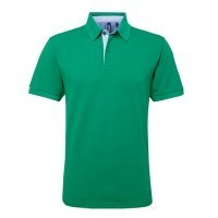 Cotton polo with Oxford fabric insert Kelly/Sky