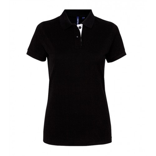 Asquith Women's contrast polo Black/White
