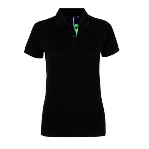 Asquith Women's contrast polo Black/Lime