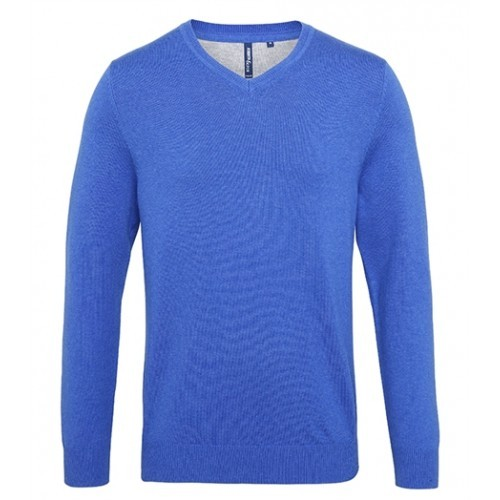 Asquith Mens Cotton Blend V-neck Sweater Royal Heather