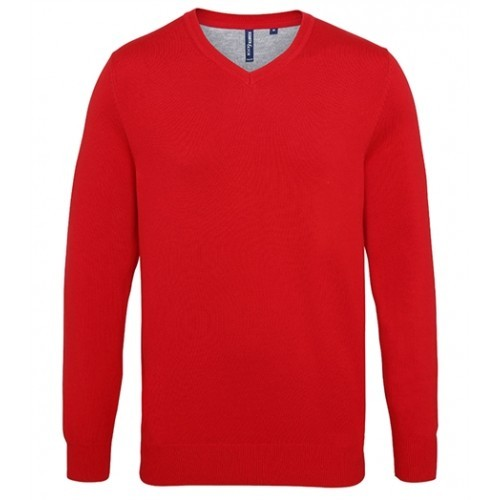 Asquith Mens Cotton Blend V-neck Sweater Cherry Red