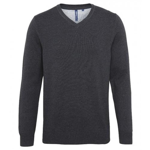 Asquith Mens Cotton Blend V-neck Sweater Black Heather