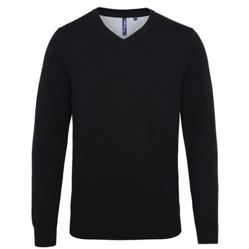 Asquith Mens Cotton Blend V-neck Sweater Black