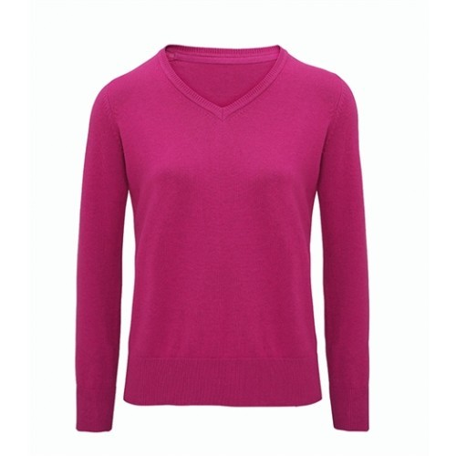 Asquith Women's Cotton Blend V-neck Sweater Orchid Heather