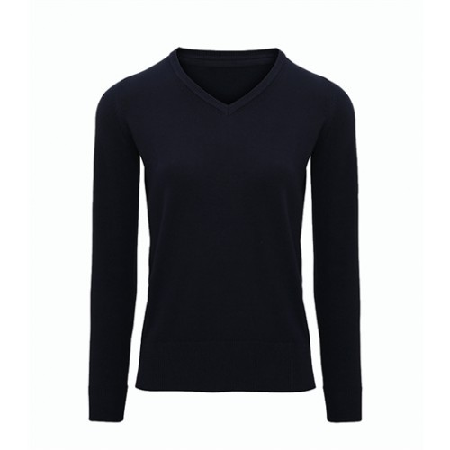 Asquith Women's Cotton Blend V-neck Sweater French Navy