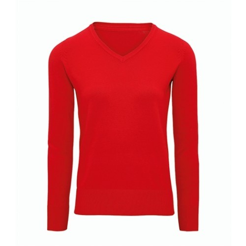 Asquith Women's Cotton Blend V-neck Sweater Cherry Red