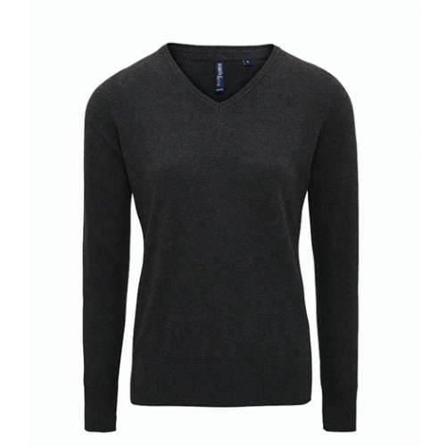 Asquith Women's Cotton Blend V-neck Sweater Black Heather
