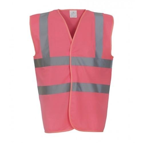 Yoko Hi Vis 2 Band & Braces Waistcoat Pink
