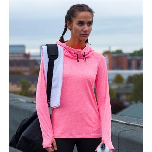 Just Cool Girlie Cool Cowl Neck Electric Pink Melange